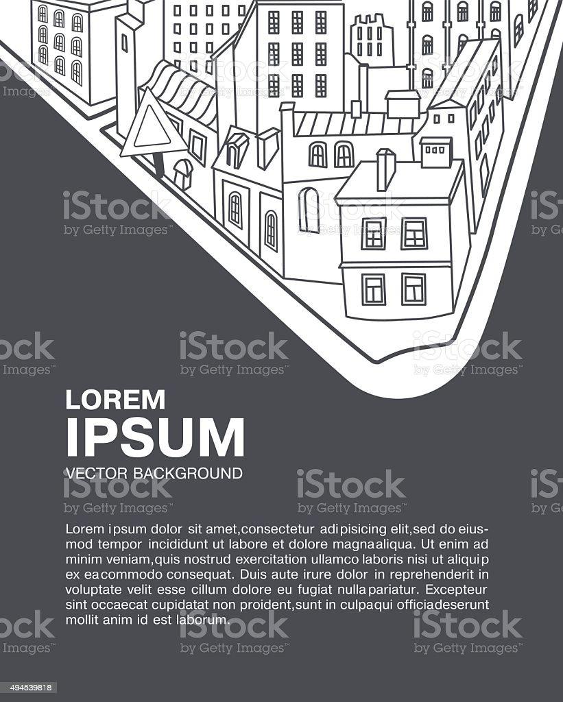 urban street and homes vector art illustration