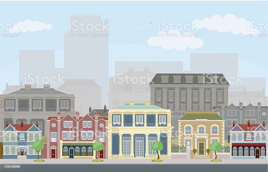 Urban street scene with smart townhouses vector art illustration