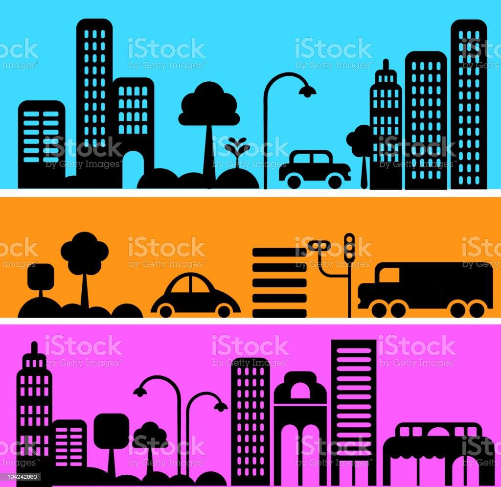 Urban streets at night vector art illustration