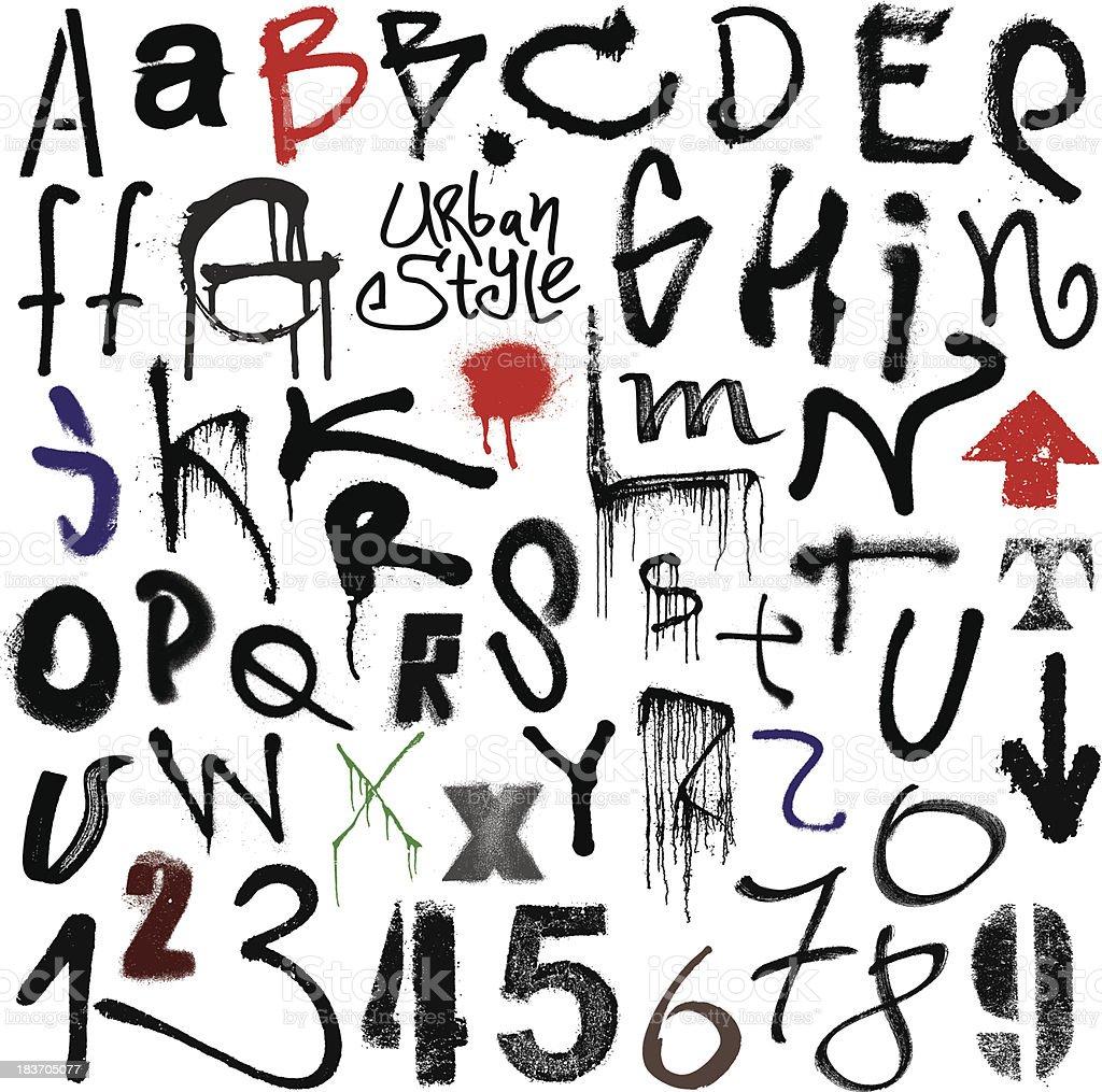 Urban style. Graffiti alphabet. vector art illustration