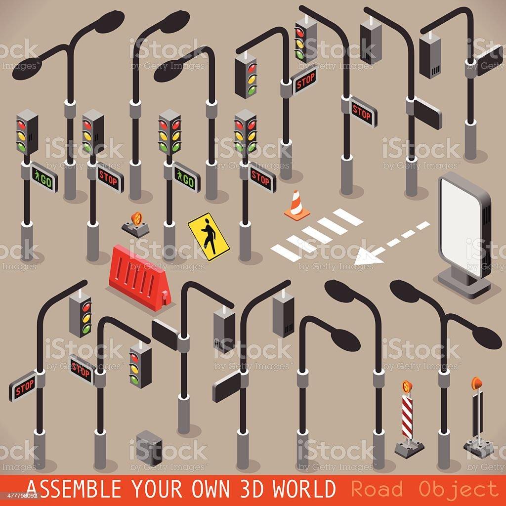 Urban Traffic Management Set Isometric vector art illustration