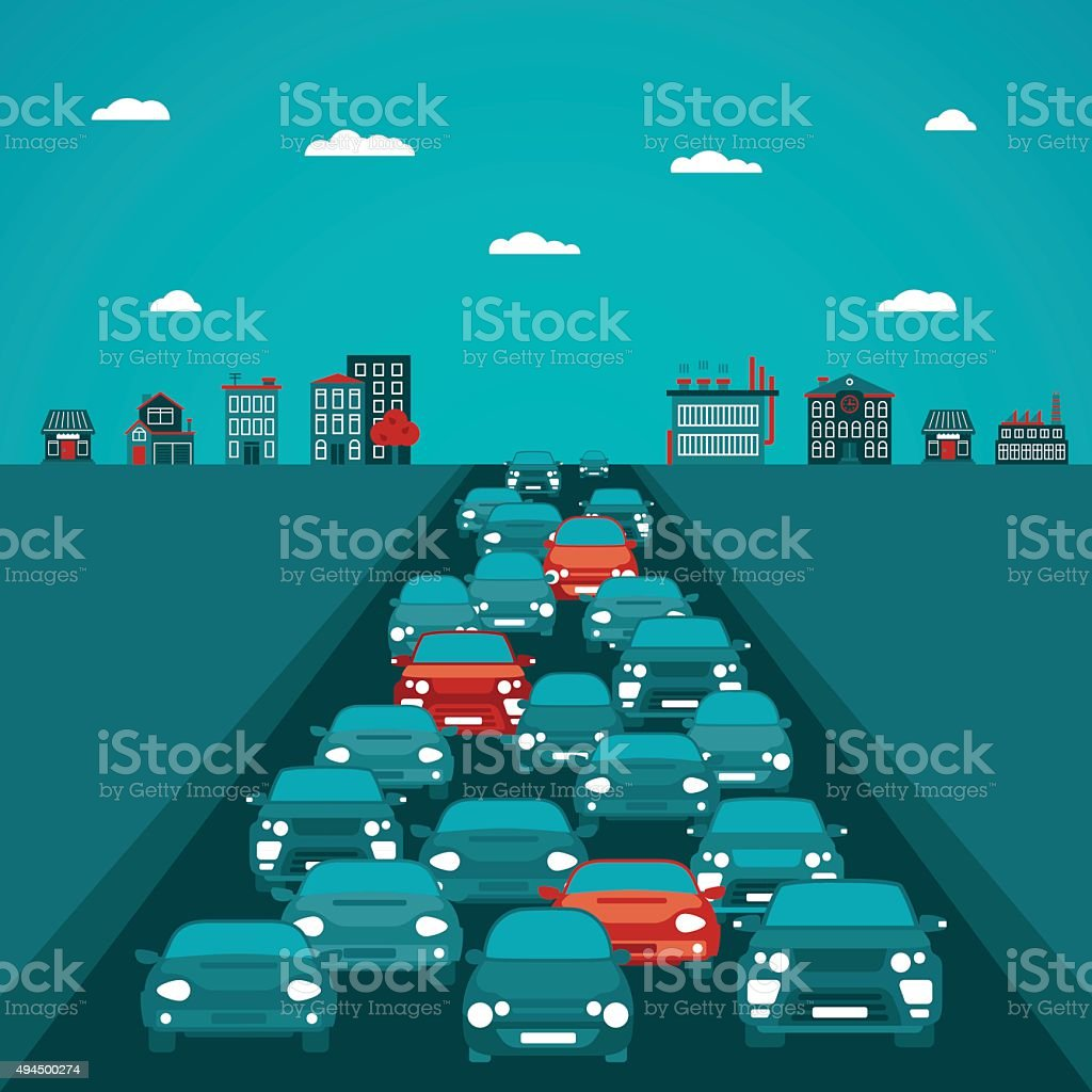 Urban traffic vector concept in flat style vector art illustration
