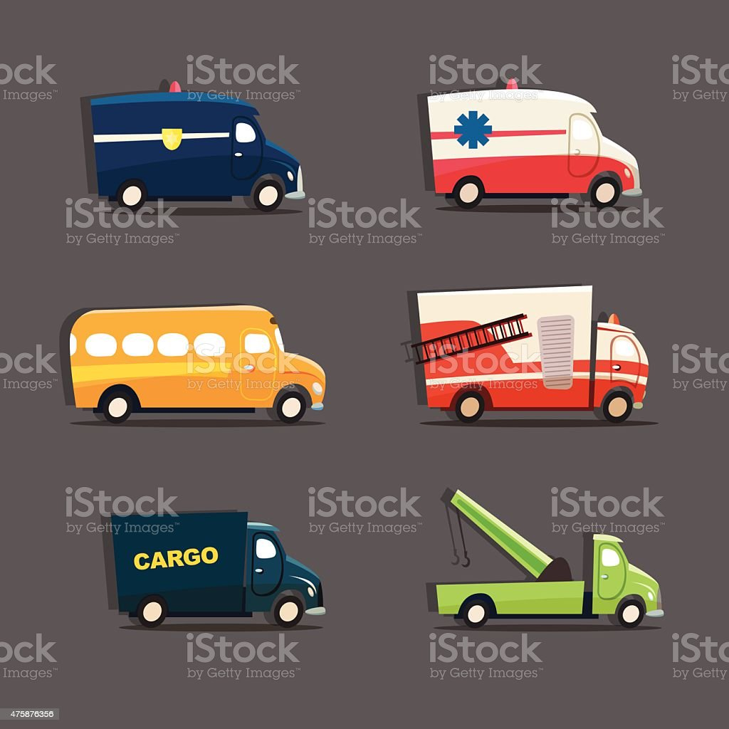 Urban vehicles featuring police car, ambulance, school bus, fire truck vector art illustration