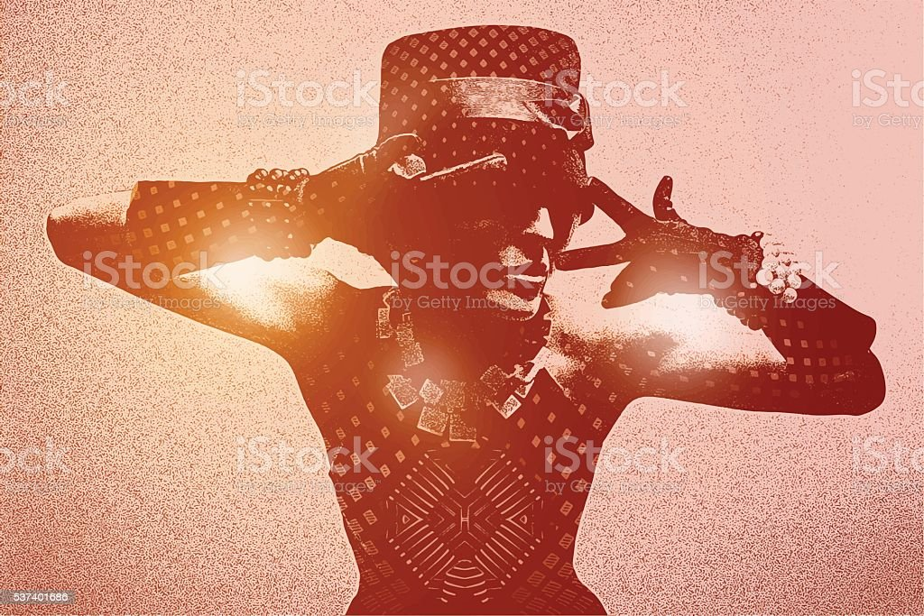 Urban woman night clubbing with lens flare vector art illustration