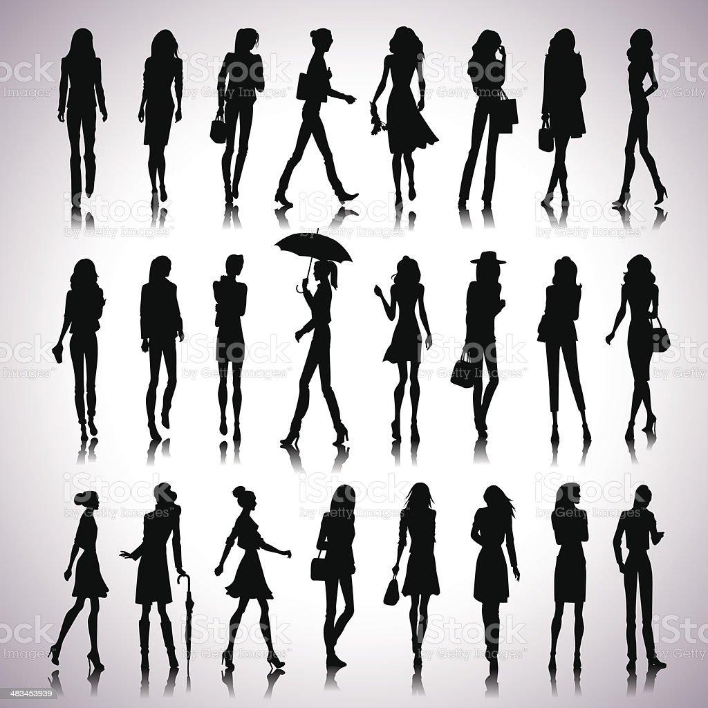 Urban women silhouettes vector art illustration