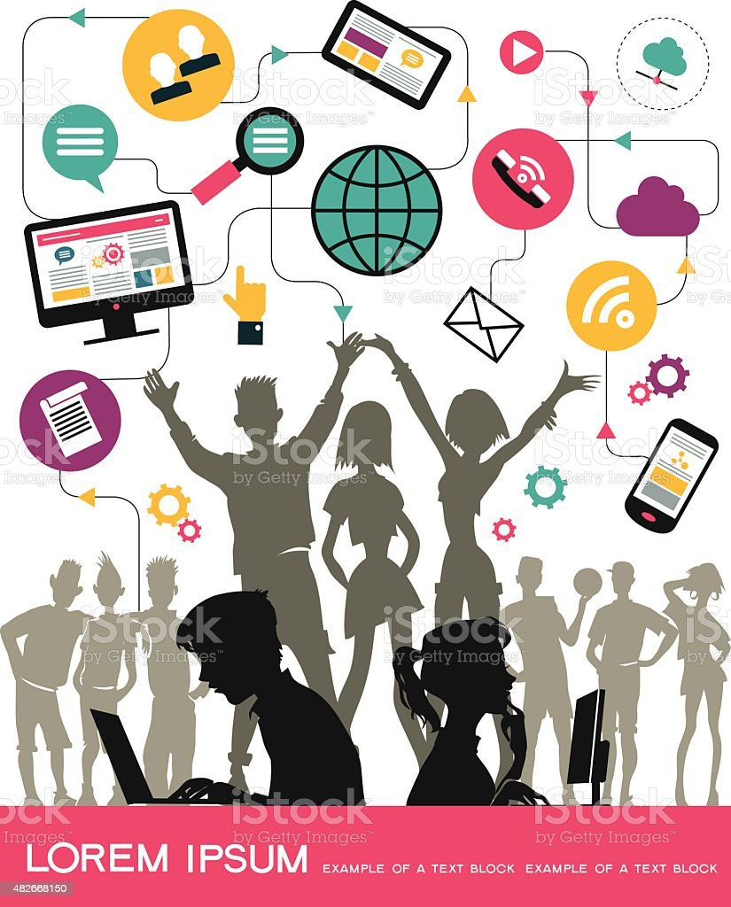 Urban Youth in the Internet network vector art illustration