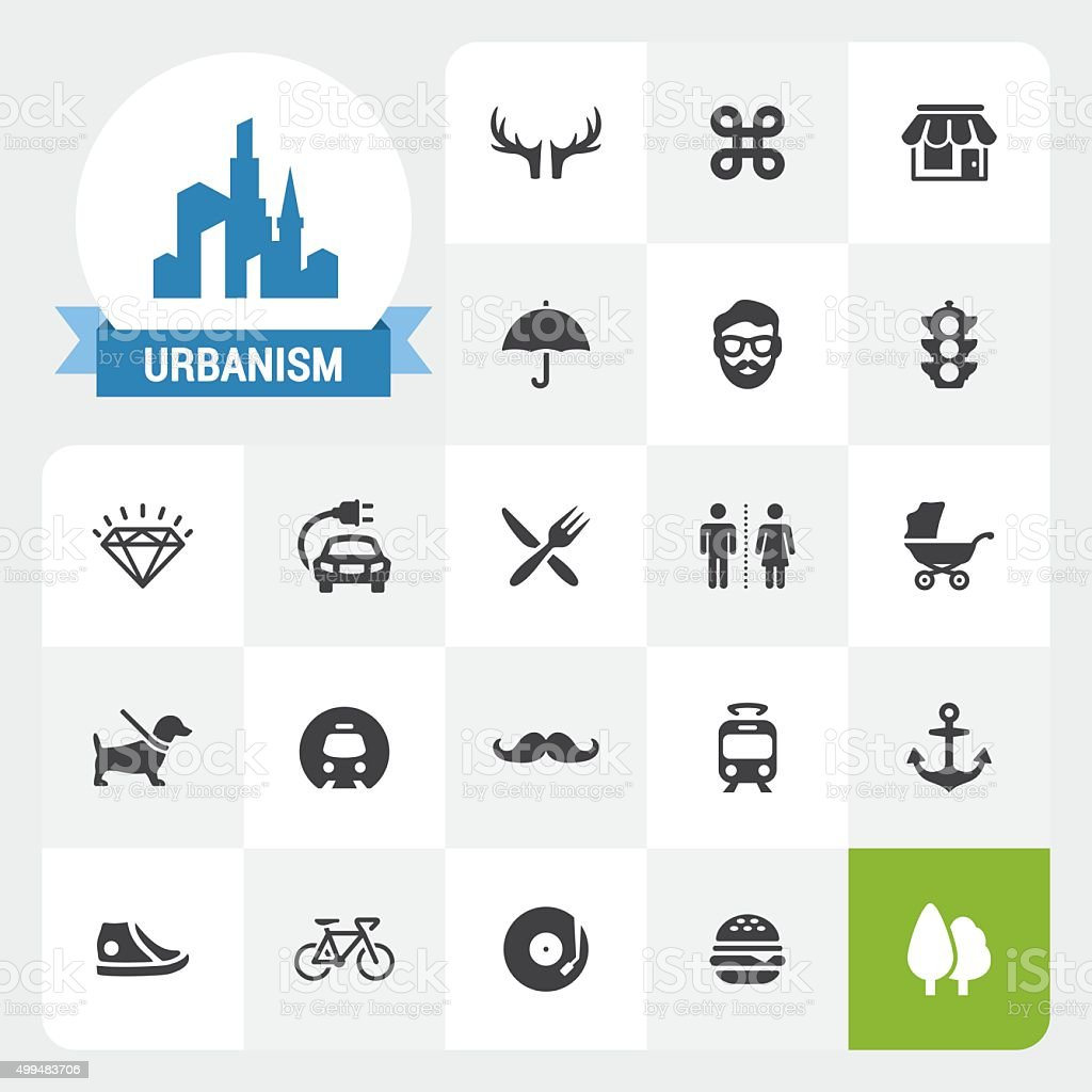 Urbanism base vector icons and label vector art illustration