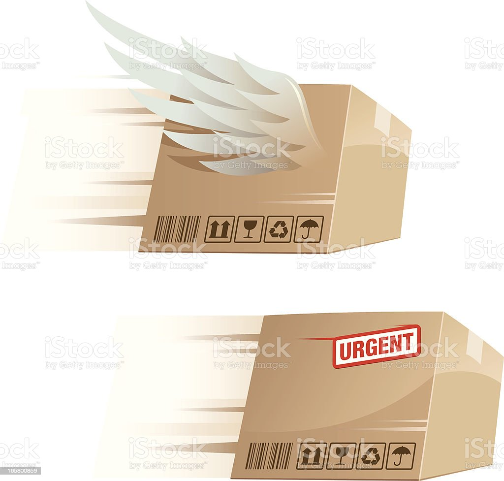 Urgent Quick Parcel Delivery royalty-free stock vector art