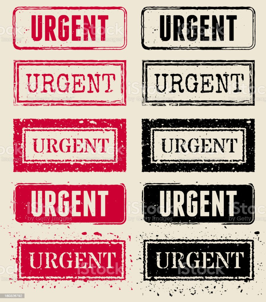 Urgent Vector Rubber Stamp Collection vector art illustration