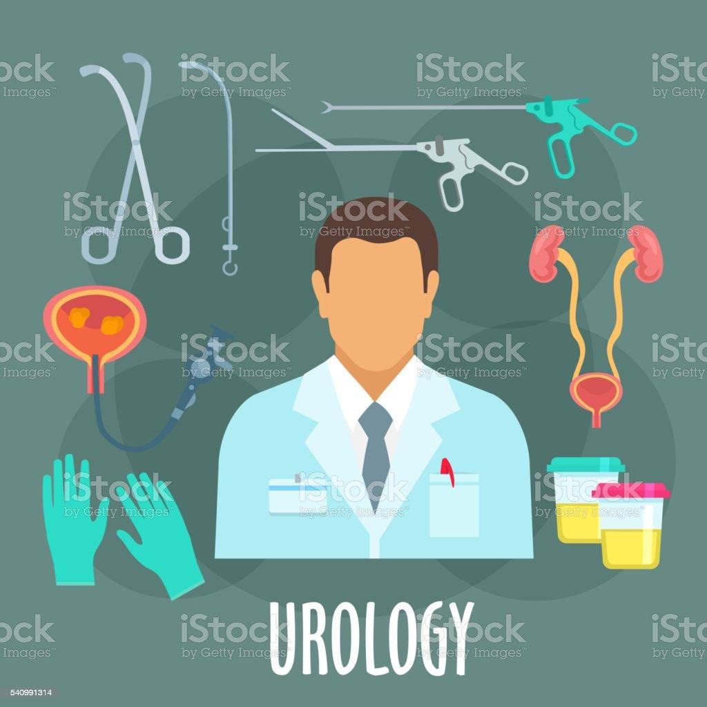 Urology icon of medical examination, flat style vector art illustration