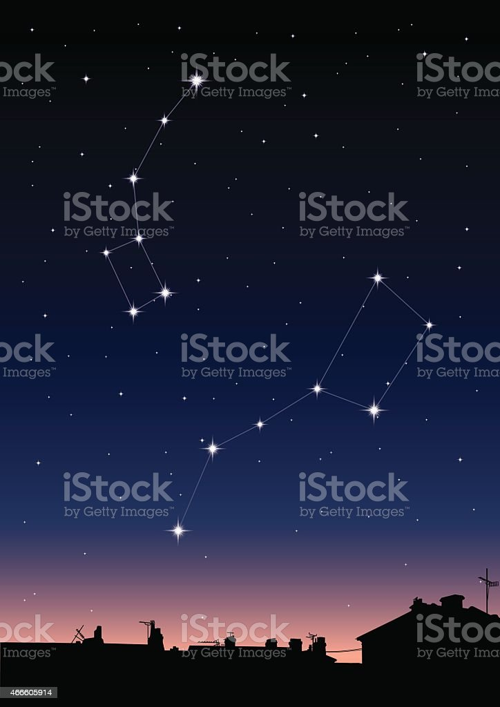 Ursa Major and Ursa Minor Constellations vector art illustration