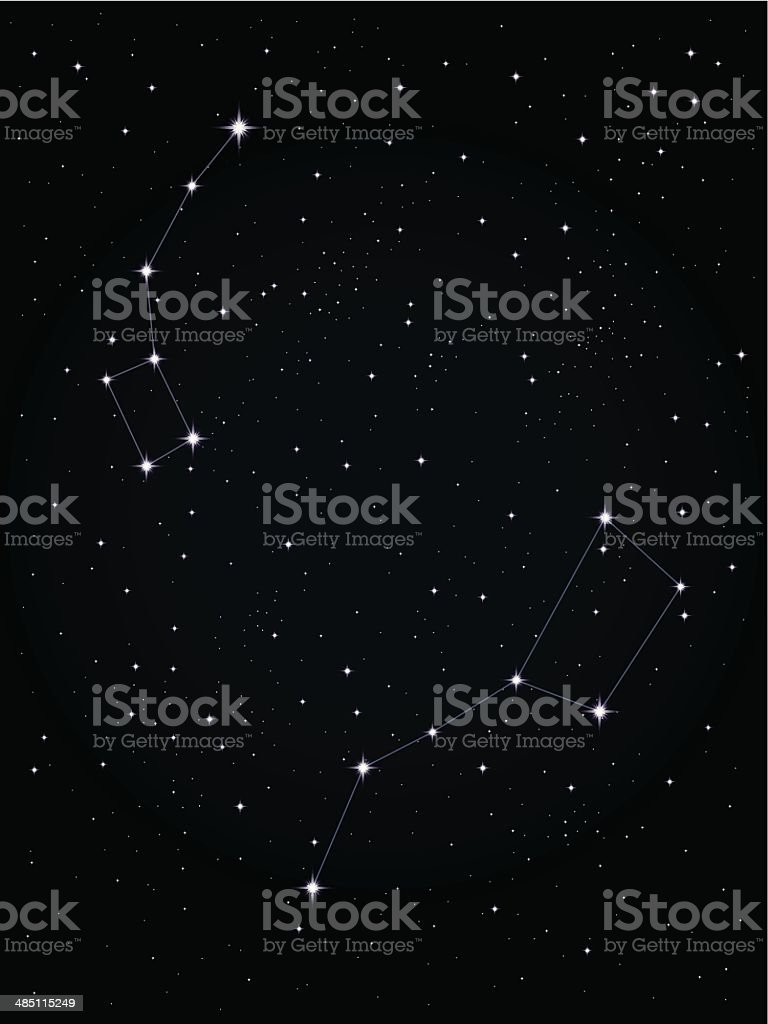 Ursa Major and Ursa Minor vector art illustration