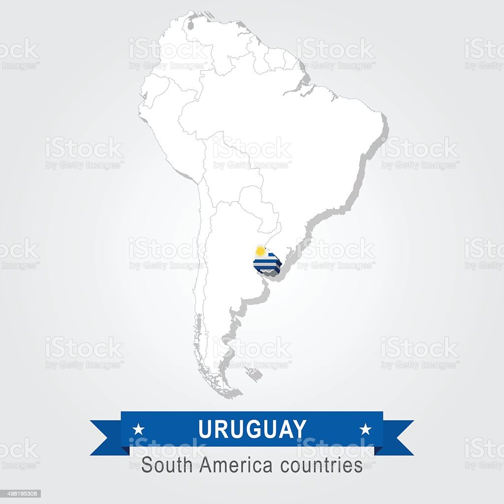 Uruguay. All the countries of South America. Flag version. vector art illustration