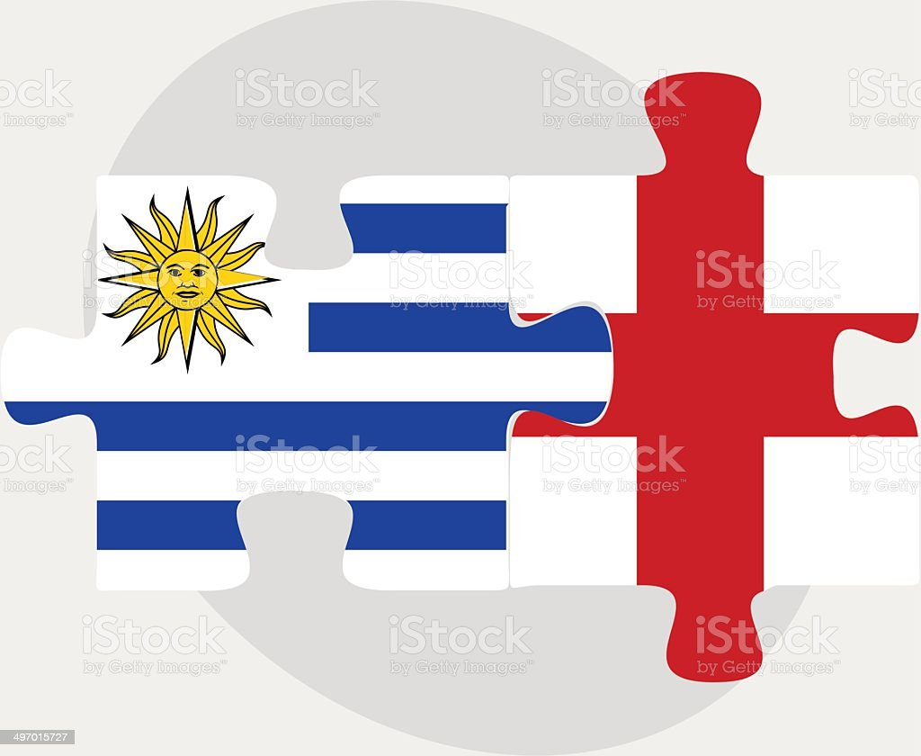 uruguay and england flags in puzzle stock vector art 497015727