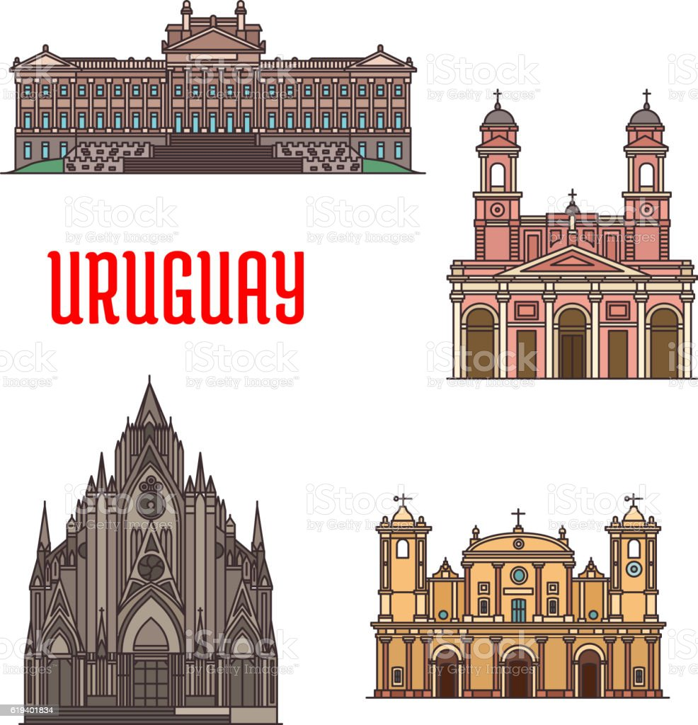 Uruguay architecture tourist attraction icons vector art illustration