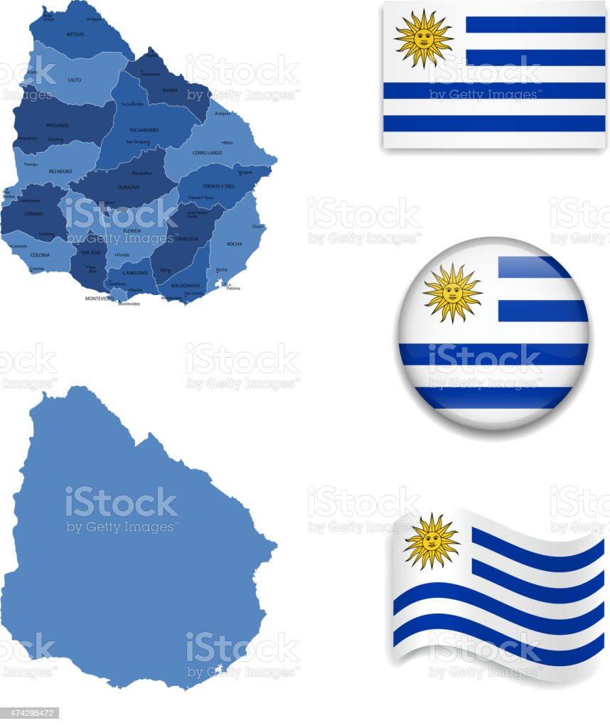 Uruguay Map and Flag Collection vector art illustration