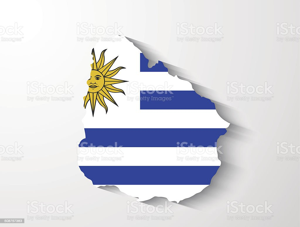 Uruguay map with shadow effect vector art illustration