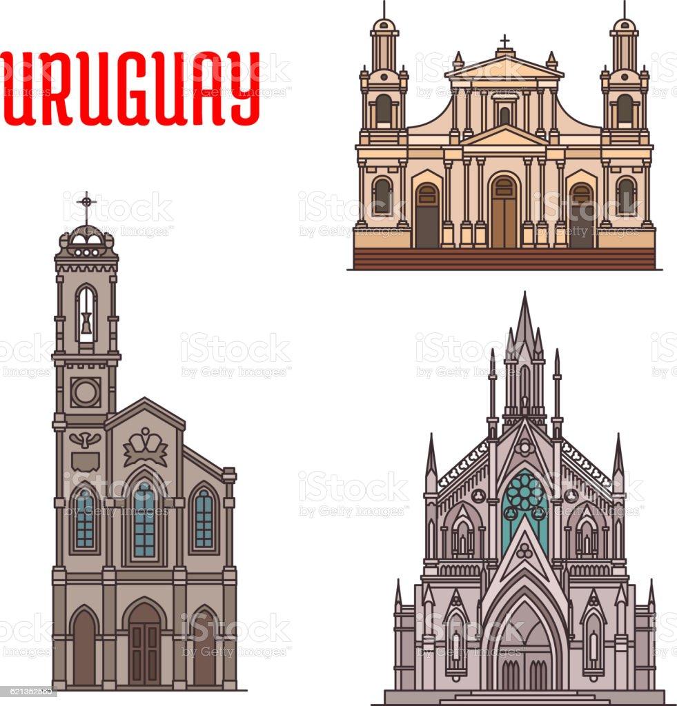 Uruguay tourist attraction, architecture landmarks vector art illustration