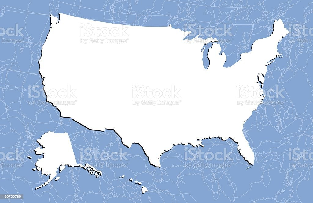 Us Map (Detailed Vector) royalty-free stock vector art