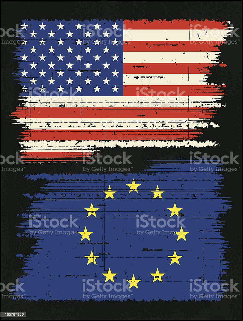 usa and european union flags royalty-free stock vector art