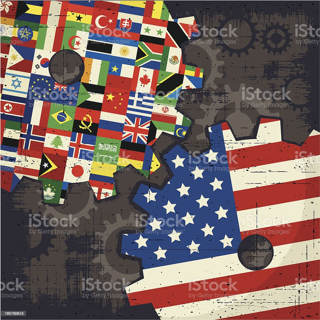 usa and world flags cogs royalty-free stock vector art