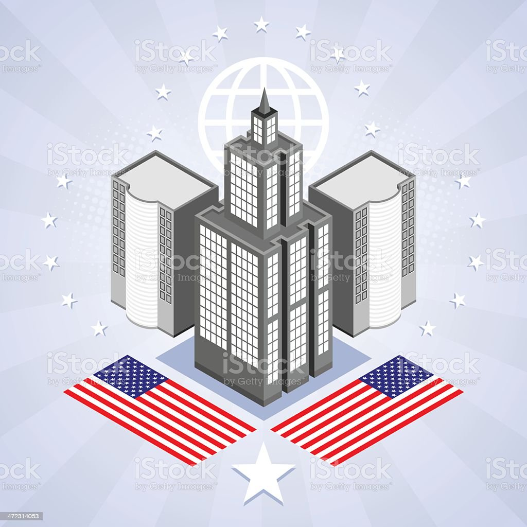 Usa flag and skyscrapers royalty-free stock vector art