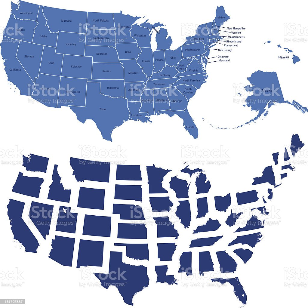 usa map and all states vector art illustration