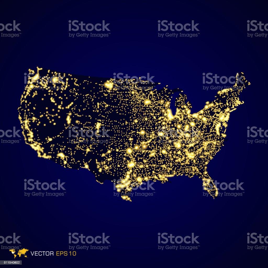 Usa map night vector art illustration