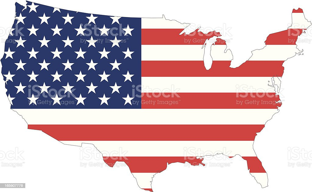 usa map with american flag vector art illustration