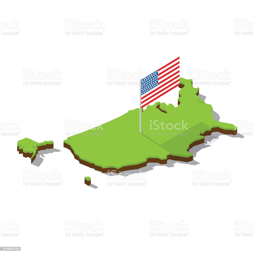 Usa Map With Flag Isometric Stock Vector Art IStock - Us map 1905