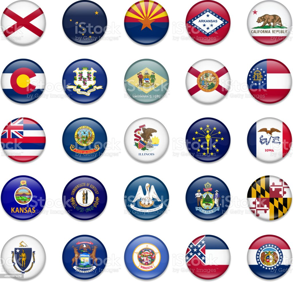 Usa State Button Flag Collection-Part 1 vector art illustration