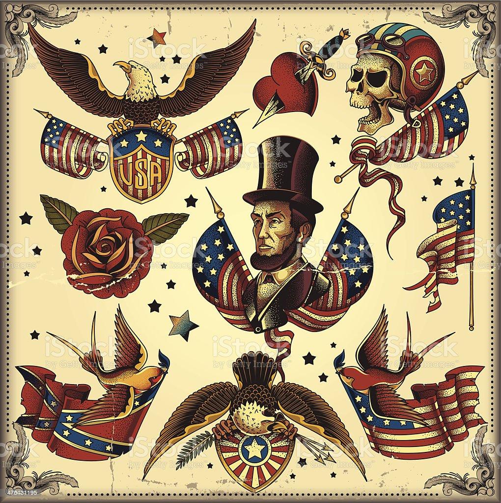 usa tattoo flash royalty-free stock vector art