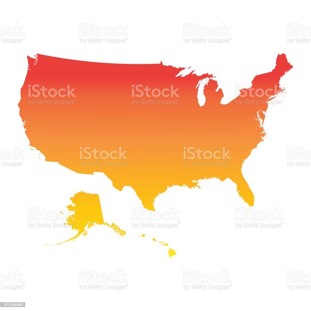 Usa, United States of America map. Colorful orange vector illustration vector art illustration