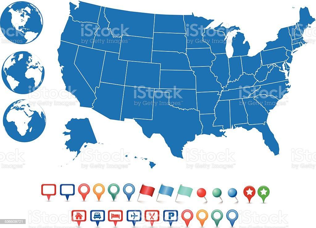 USA_Map_v1 vector art illustration