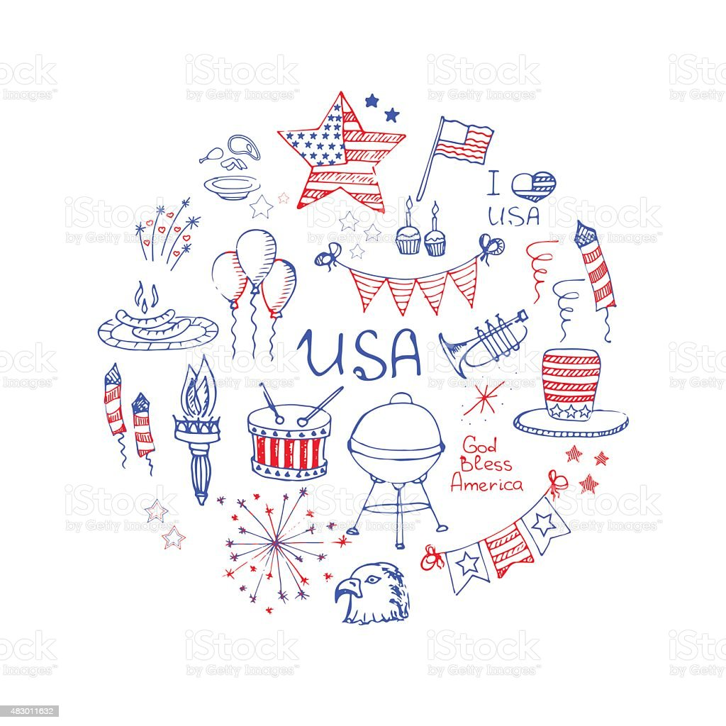 USA_set_color vector art illustration