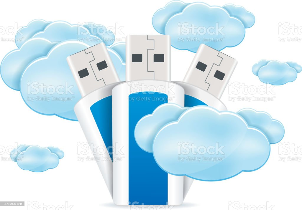Usb An Clouds royalty-free stock vector art