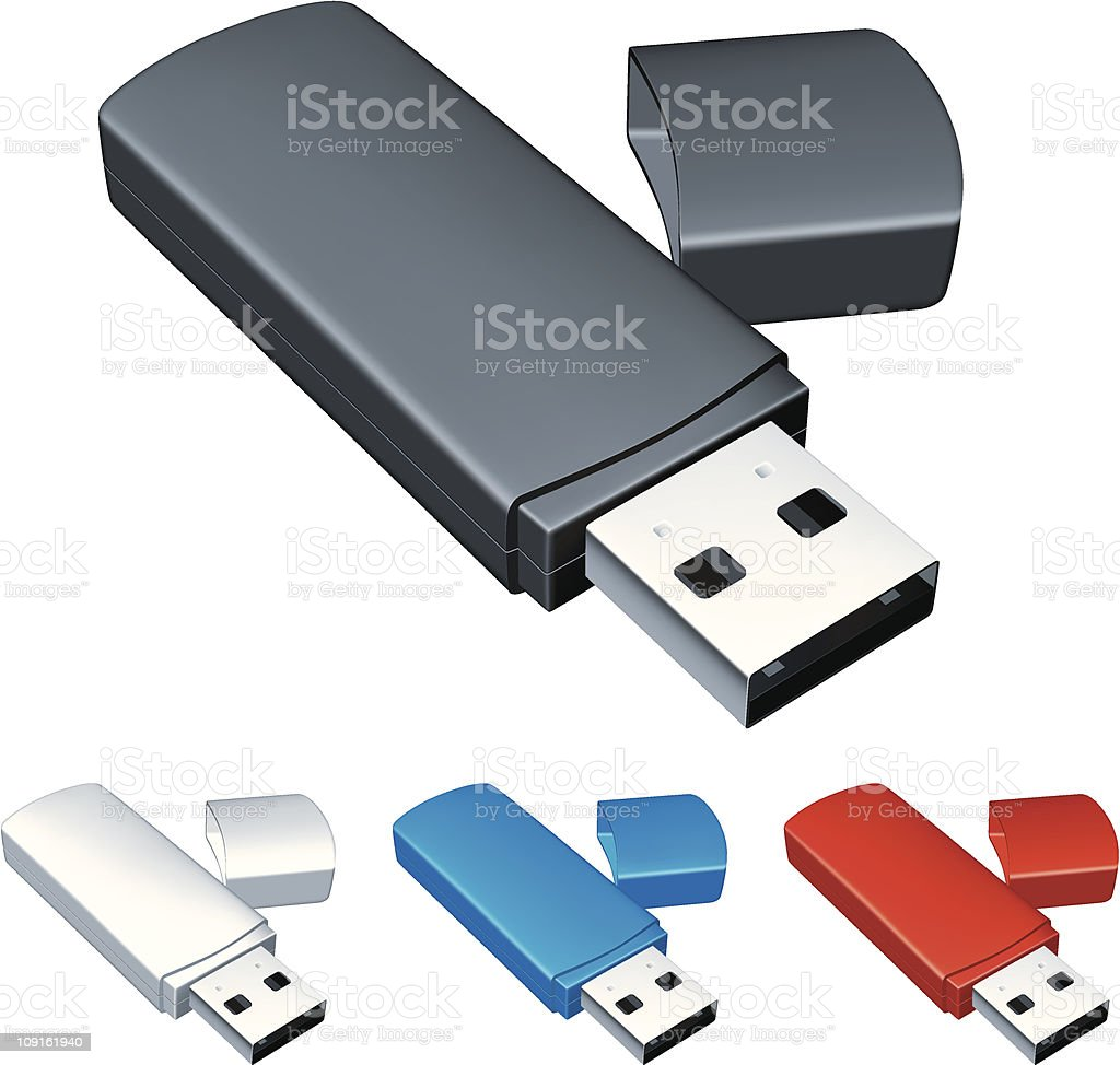 Usb flash drive. vector art illustration