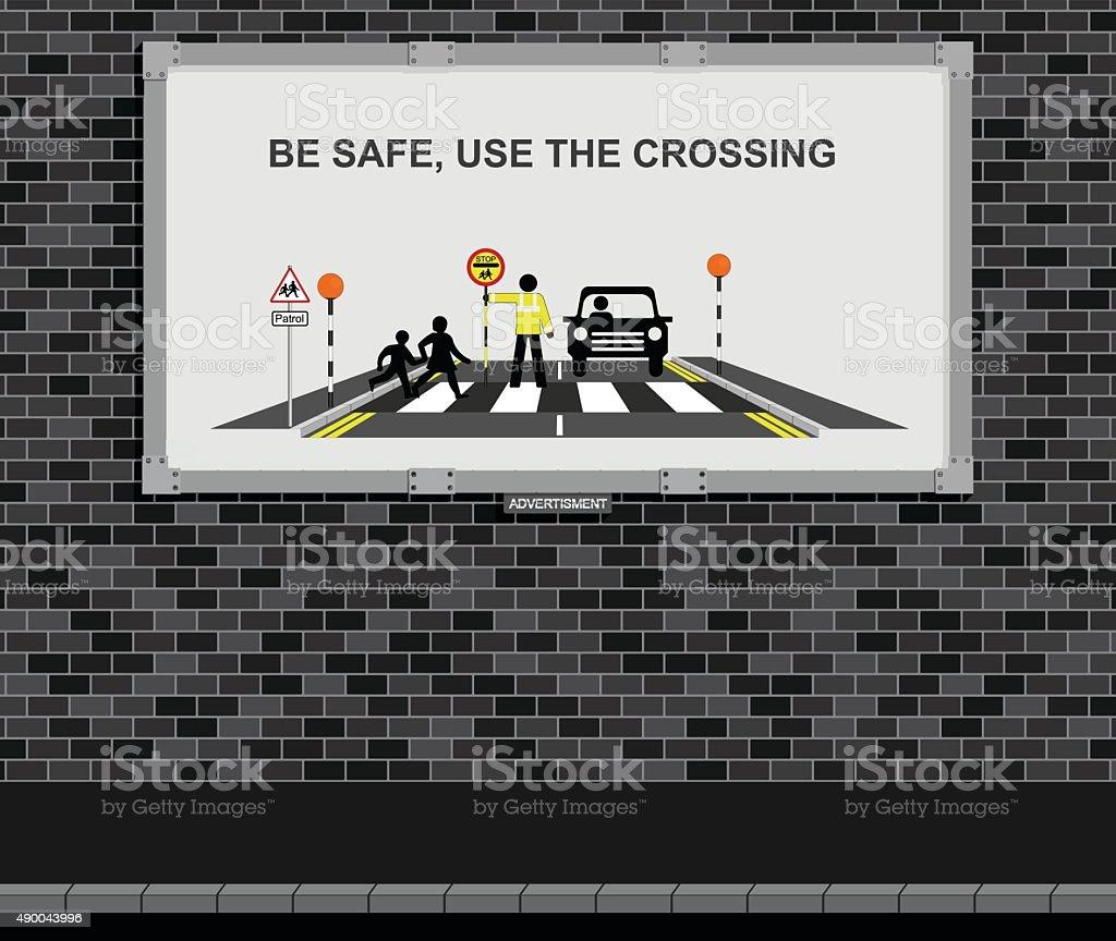 Use the crossing advertising board vector art illustration