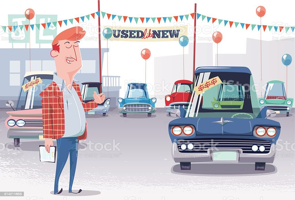 Used Car Lot Salesman vector art illustration