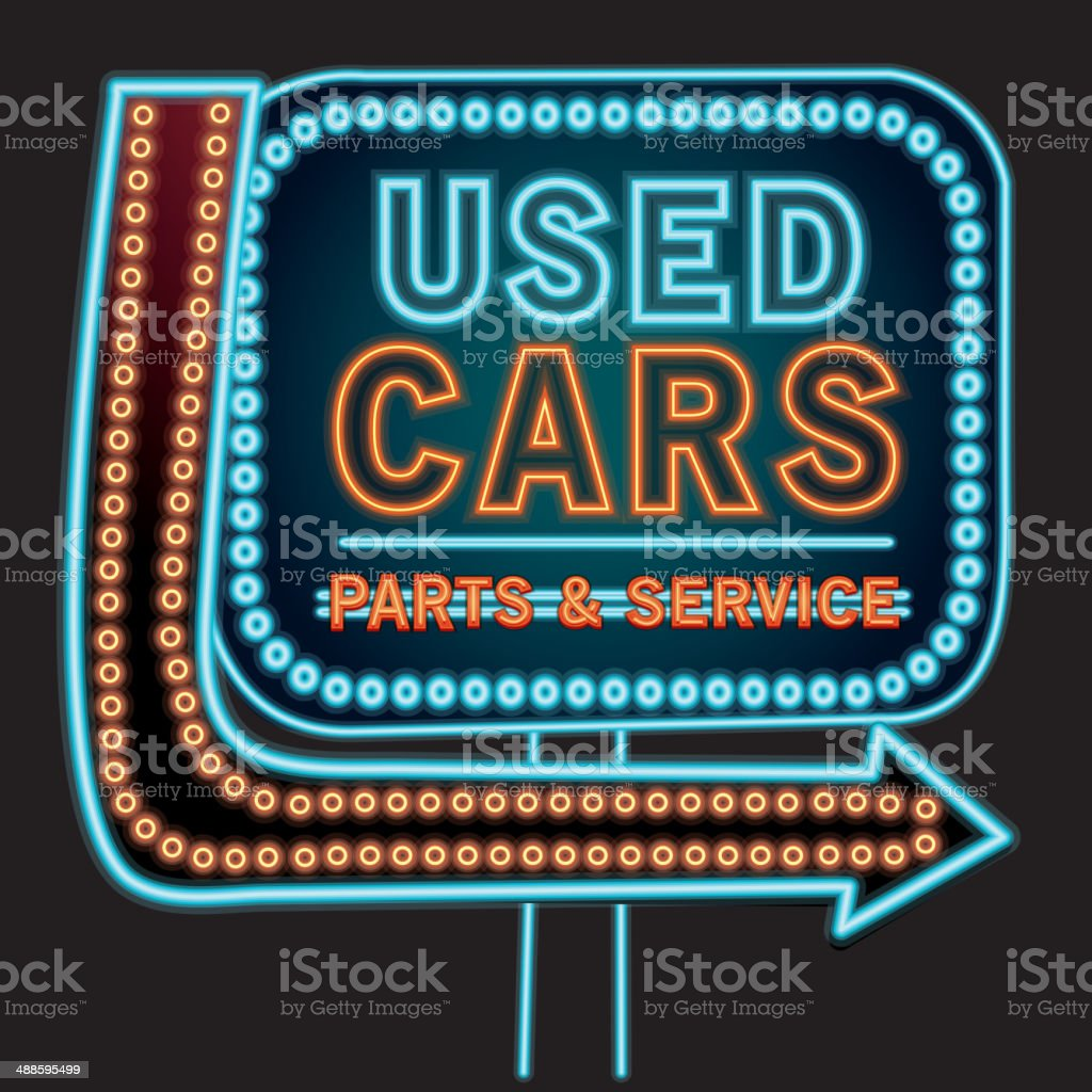 Used cars Parts and Service neon sign vector art illustration