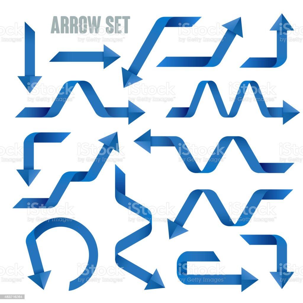 useful blue arrows set collection vector art illustration