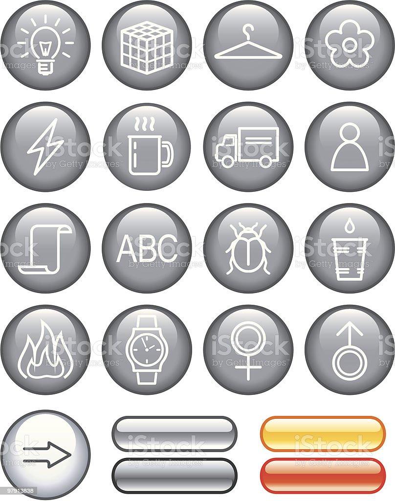 Useful Web Icons Set vector art illustration