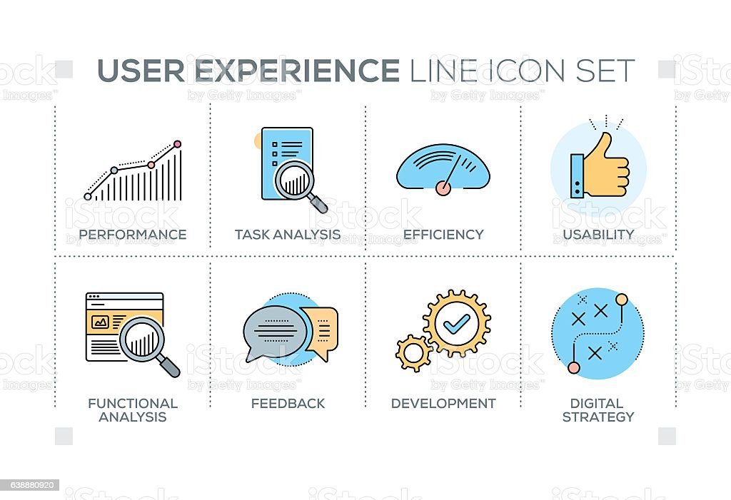 User Experience keywords with line icons vector art illustration