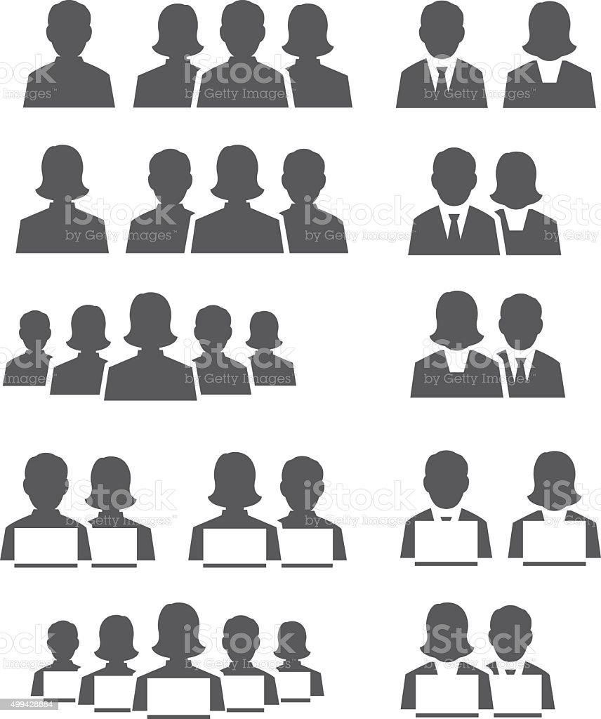 User icon set vector art illustration