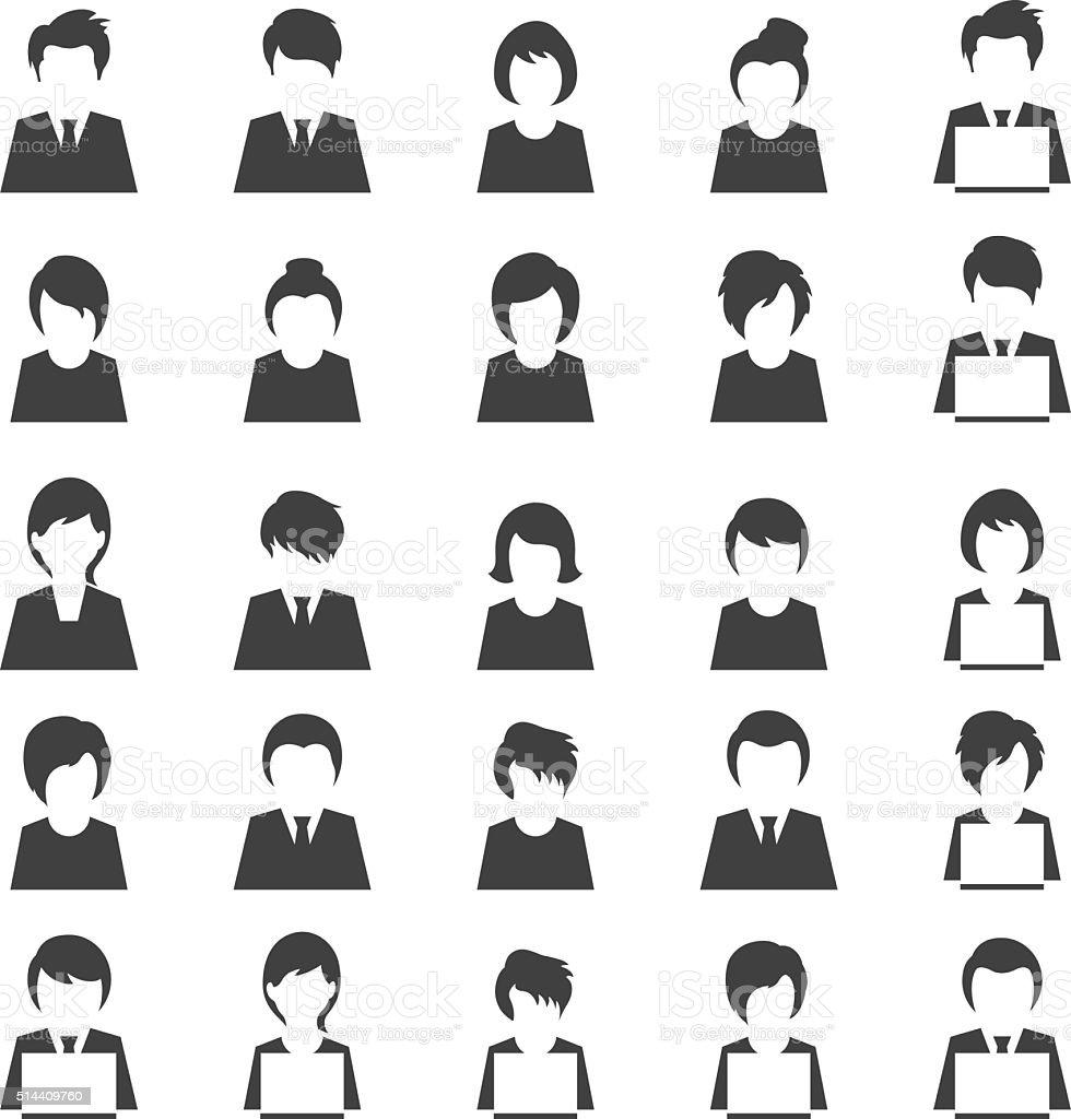 User icon set vector art illustration