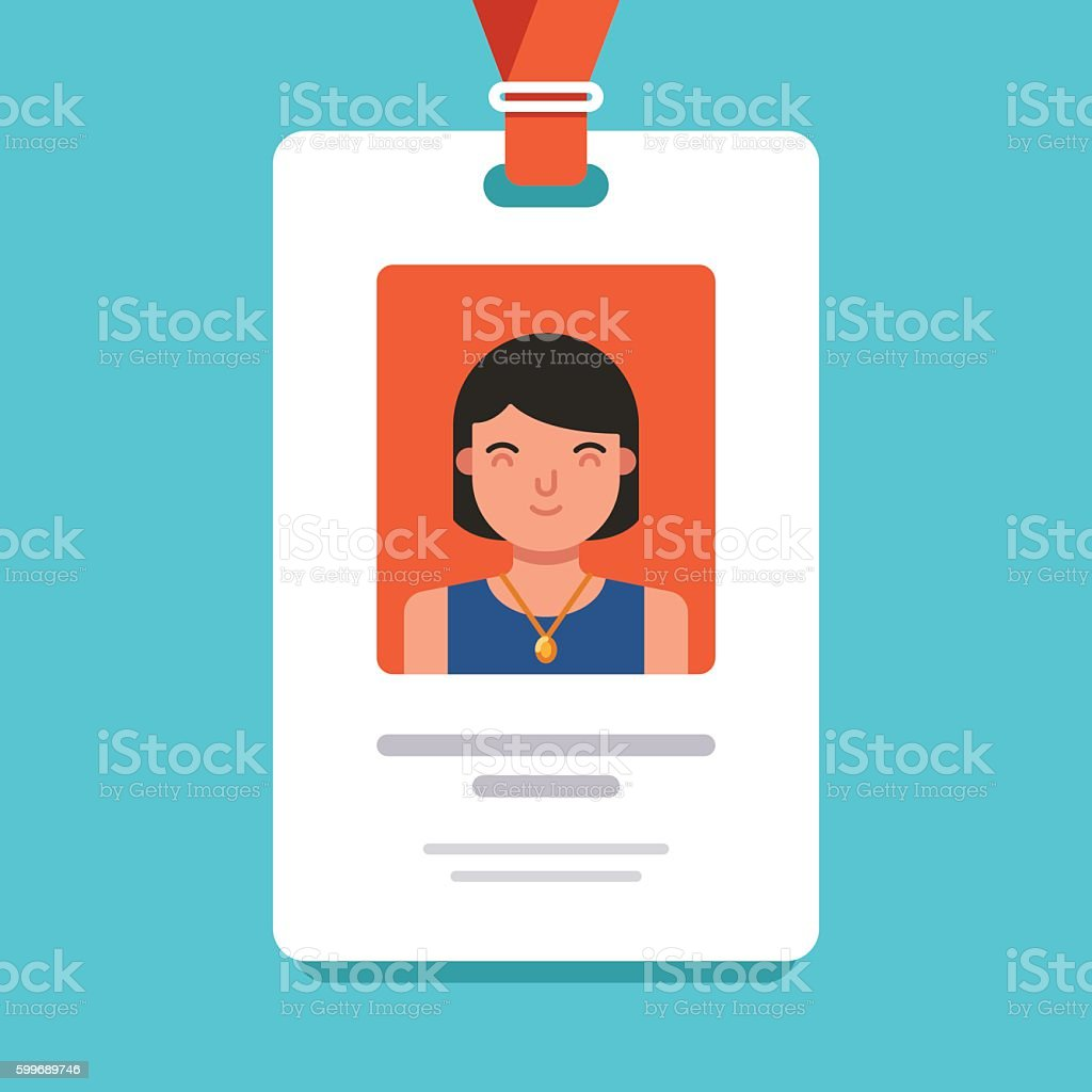 User id card with female photo. Id card for businessman. vector art illustration
