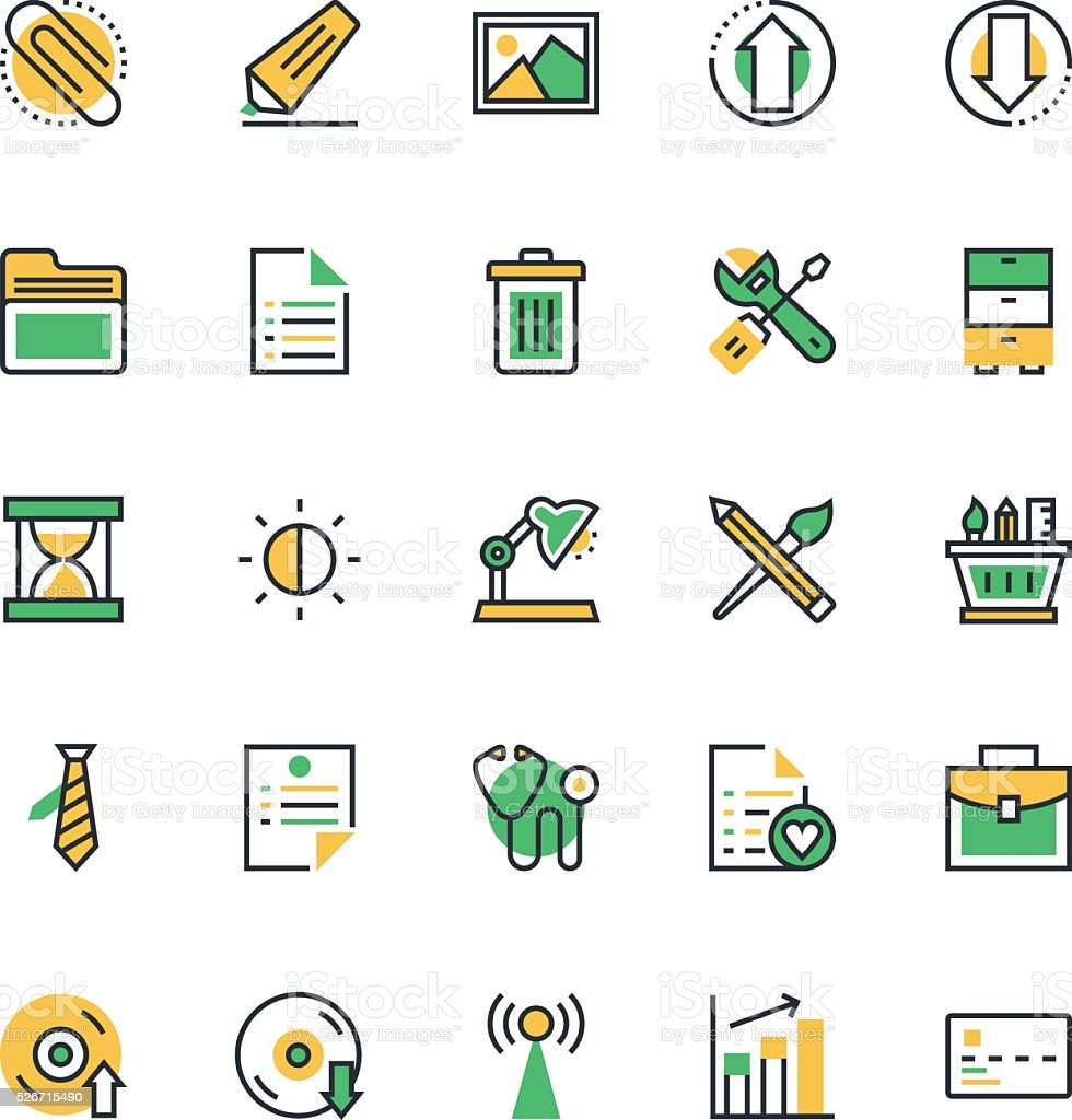 User Interface and Web Colored Vector Icons 5 vector art illustration
