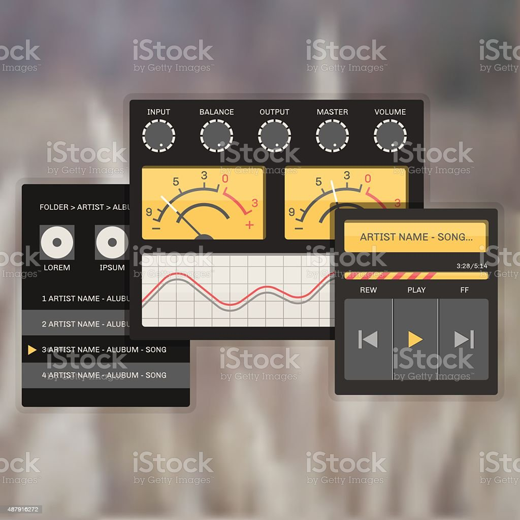 user interface audio template, with analog system devices. vector art illustration