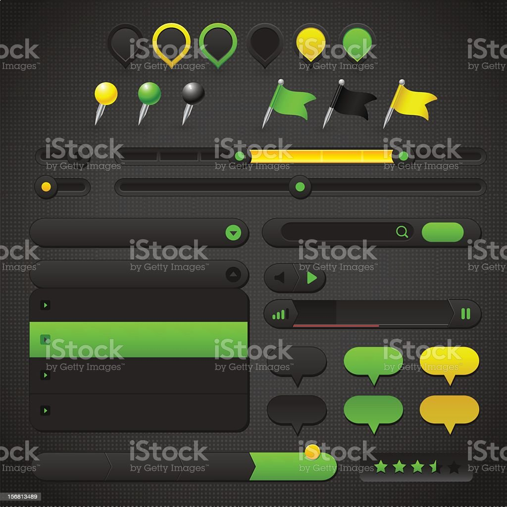 User Interface Collection with map pins royalty-free stock vector art