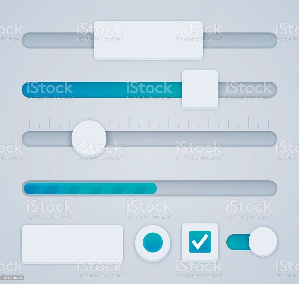 User Interface sliders and elements vector art illustration